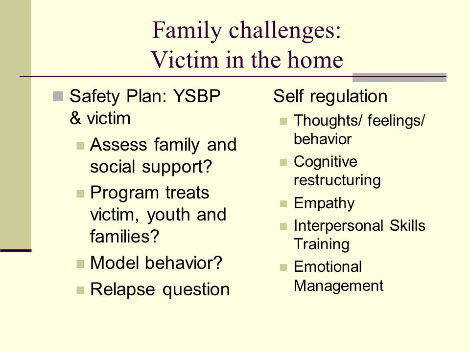 Family challenges: Victim in the home