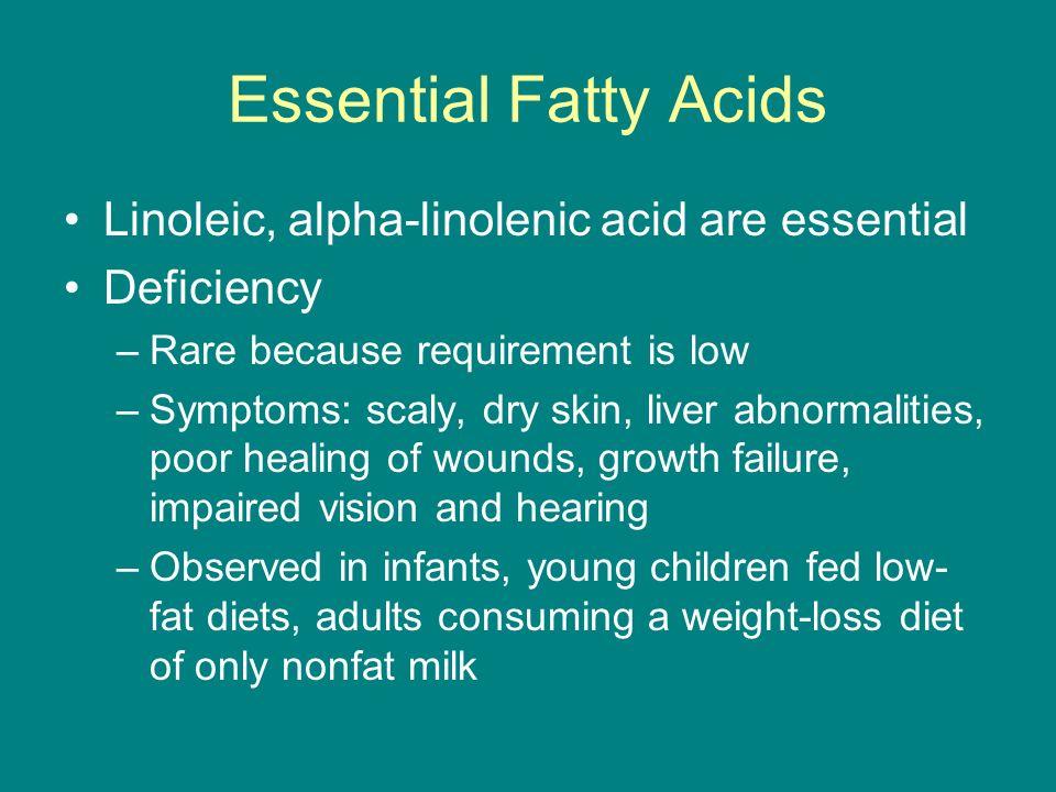 Essential Fatty Acids Linoleic, alpha-linolenic acid are essential