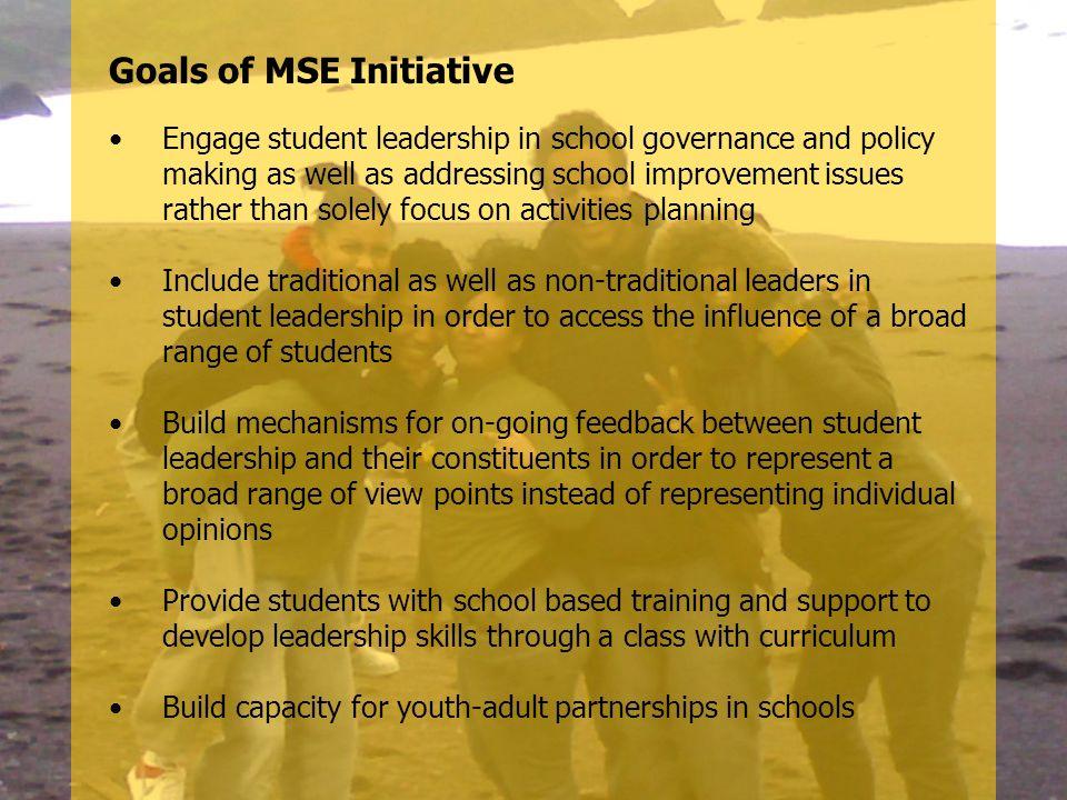 Goals of MSE Initiative