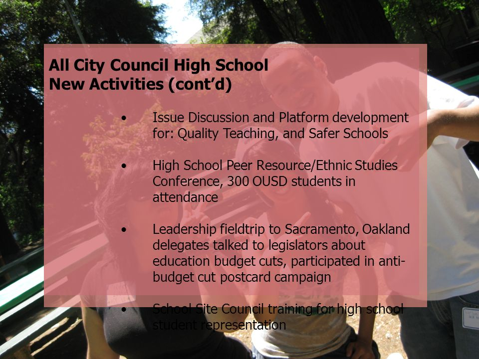 All City Council High School New Activities (cont'd)