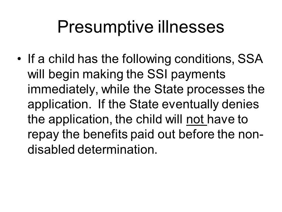 Presumptive illnesses