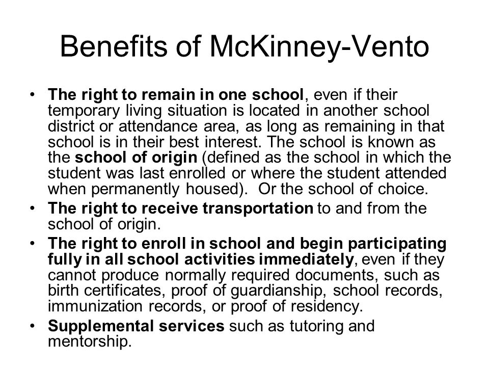 Benefits of McKinney-Vento