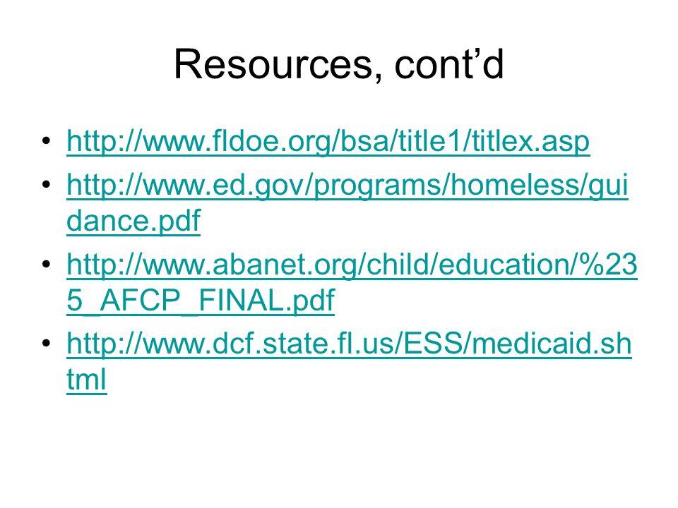 Resources, cont'd http://www.fldoe.org/bsa/title1/titlex.asp