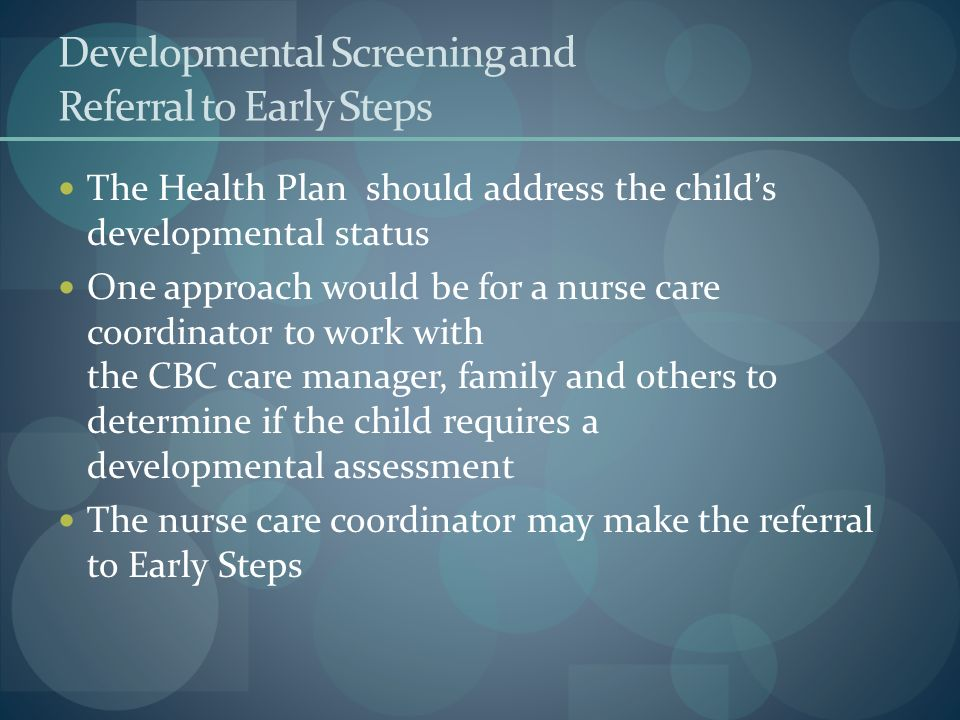 Developmental Screening and Referral to Early Steps