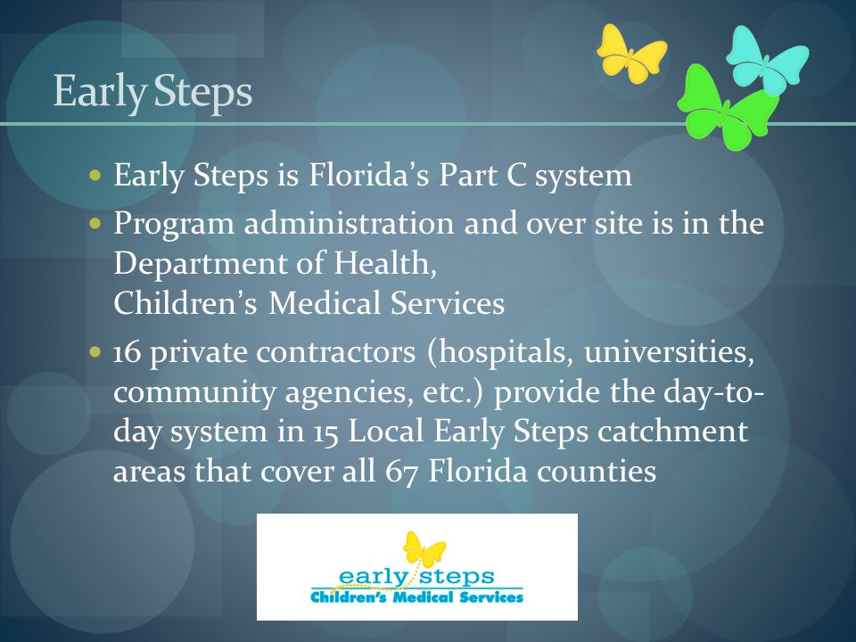 Early Steps Early Steps is Florida's Part C system