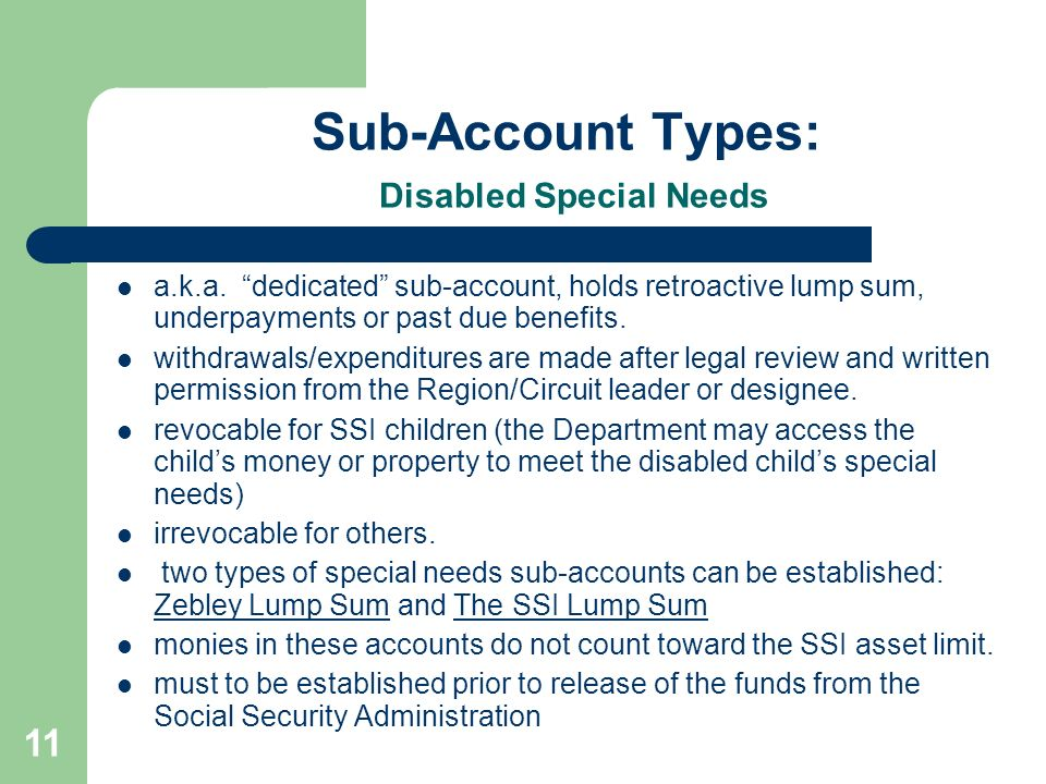 Sub-Account Types: Disabled Special Needs