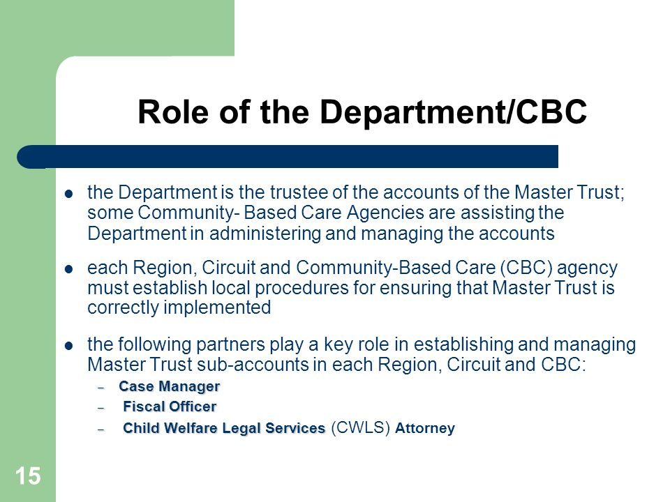 Role of the Department/CBC