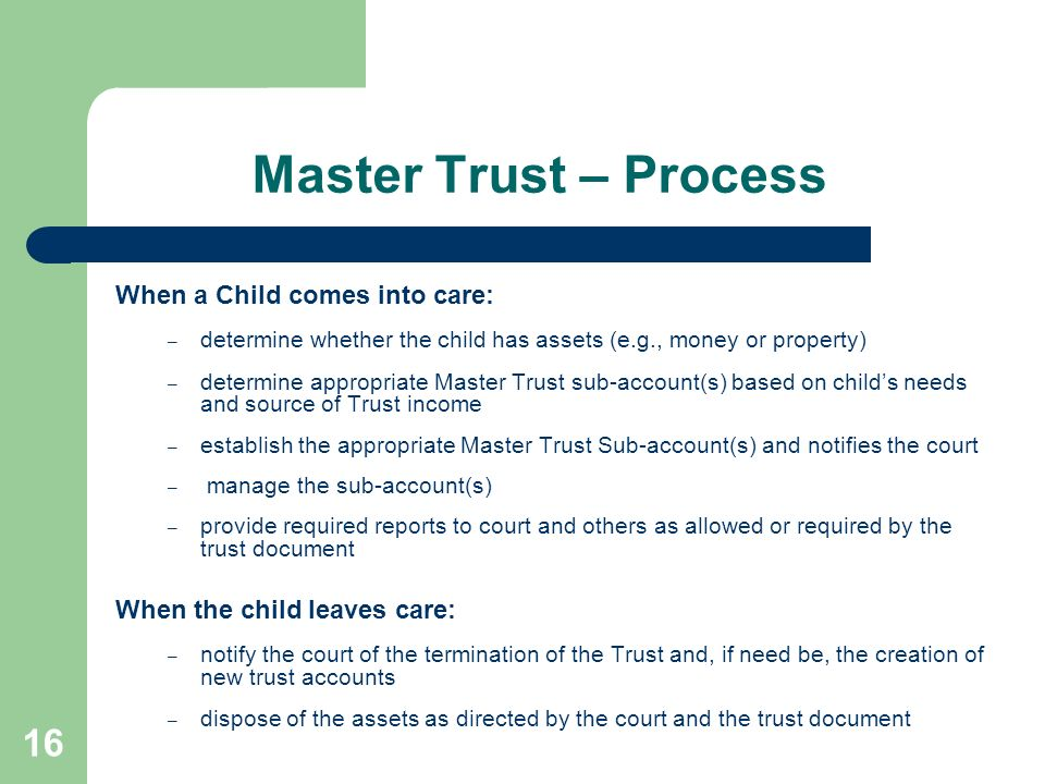 Master Trust – Process When a Child comes into care: