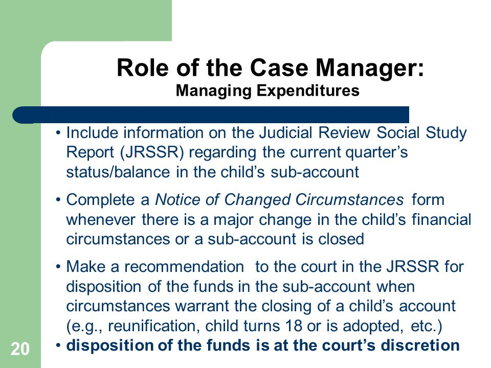 Role of the Case Manager: Managing Expenditures
