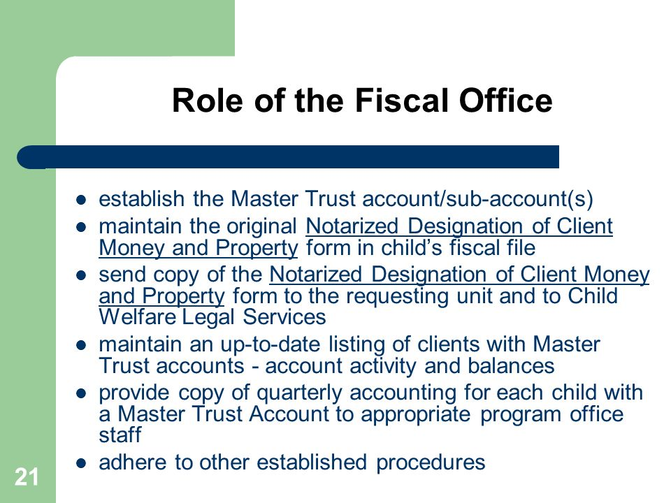 Role of the Fiscal Office