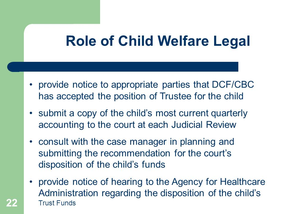 Role of Child Welfare Legal