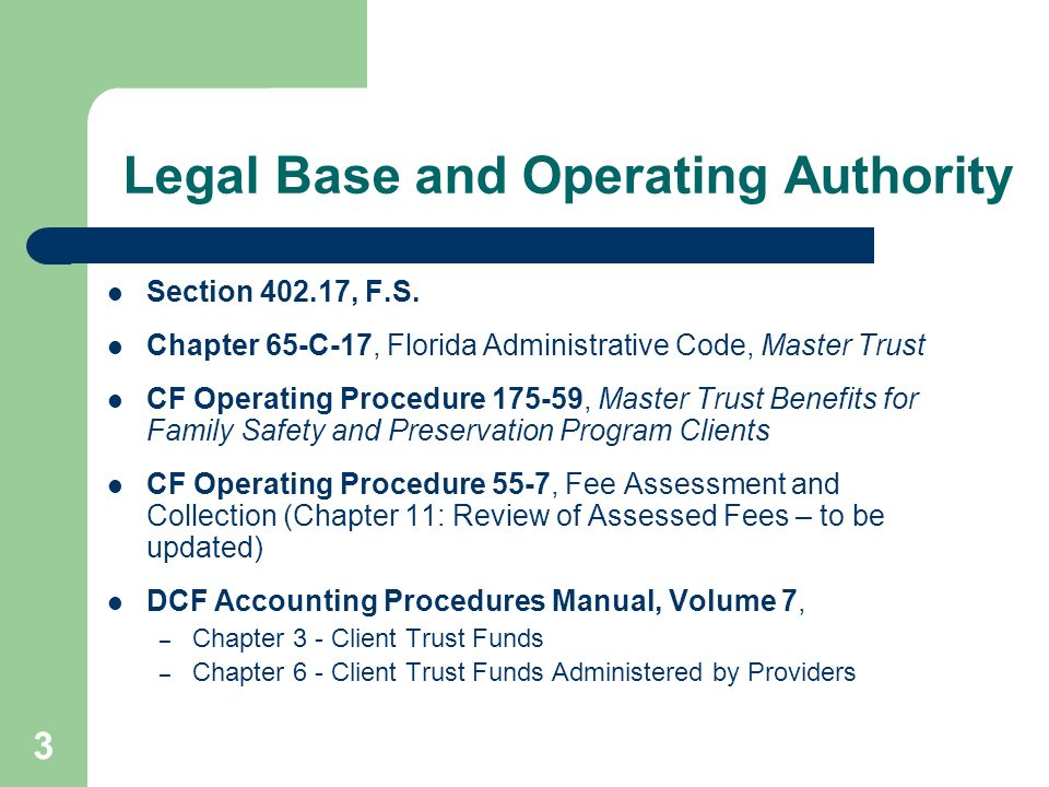 Legal Base and Operating Authority