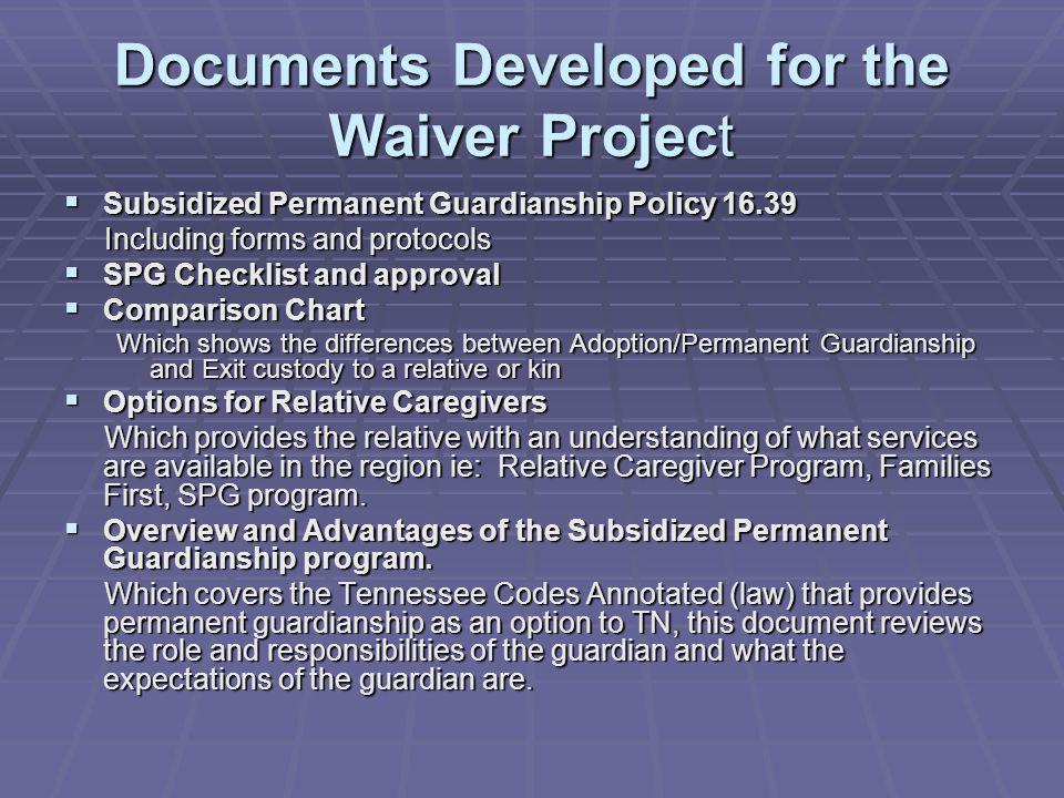 Documents Developed for the Waiver Project