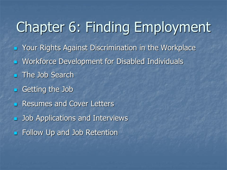 Chapter 6: Finding Employment