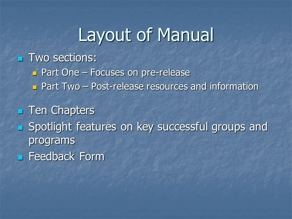 Layout of Manual Two sections: Ten Chapters