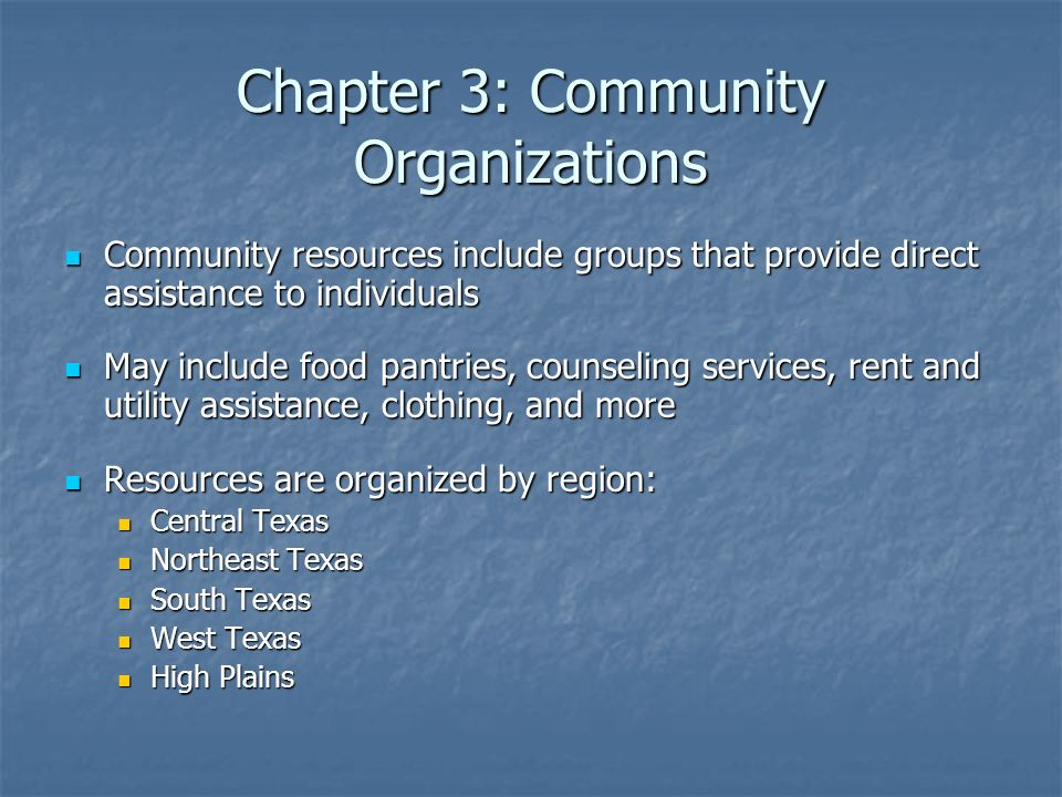 Chapter 3: Community Organizations
