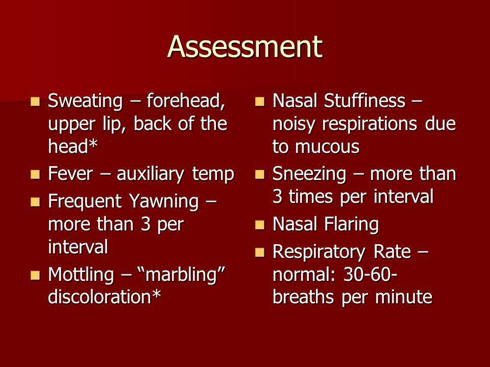 Assessment Sweating – forehead, upper lip, back of the head*