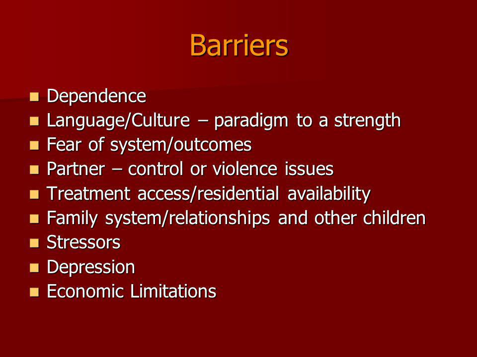 Barriers Dependence Language/Culture – paradigm to a strength