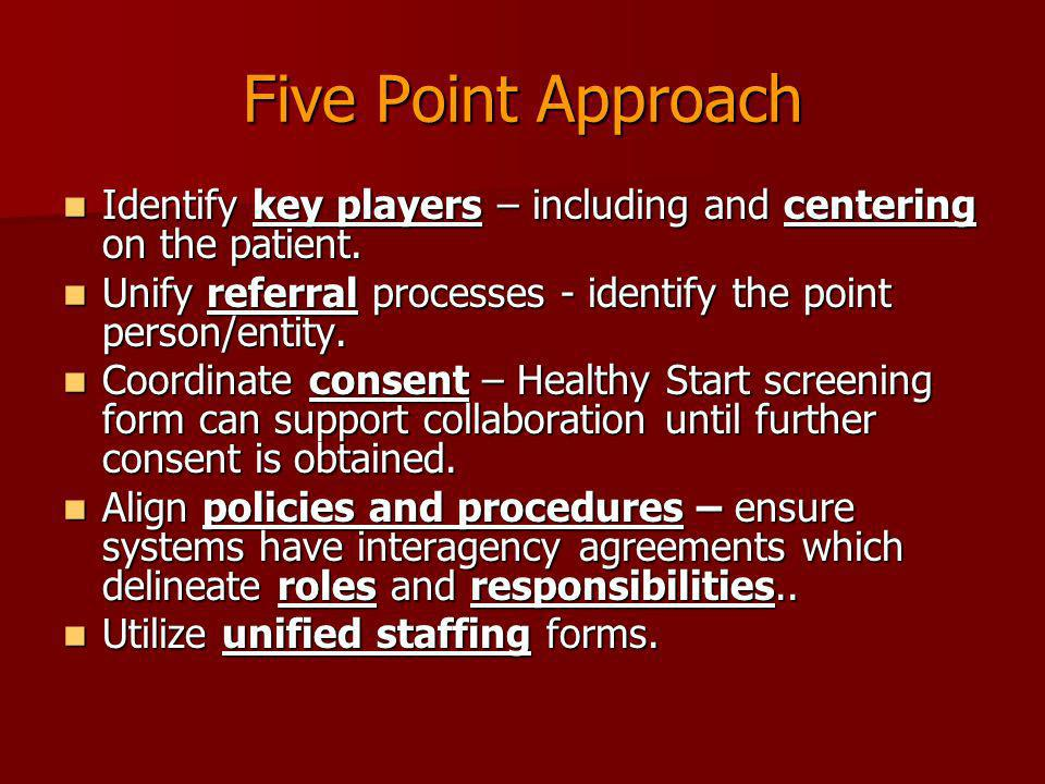 Five Point Approach Identify key players – including and centering on the patient. Unify referral processes - identify the point person/entity.