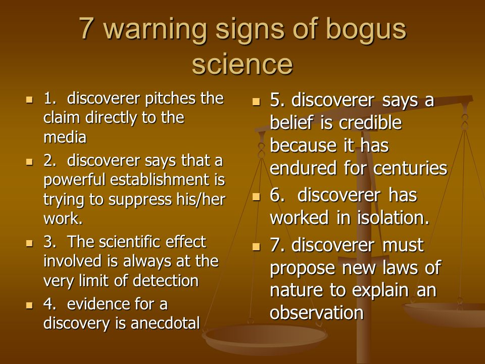 7 warning signs of bogus science