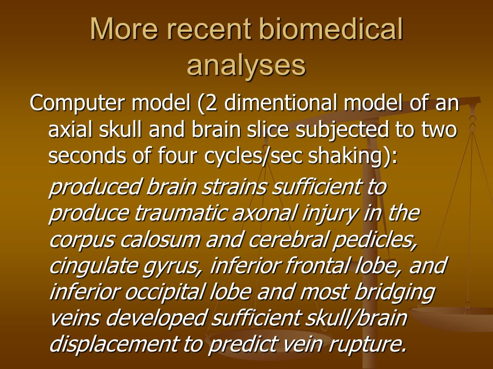 More recent biomedical analyses