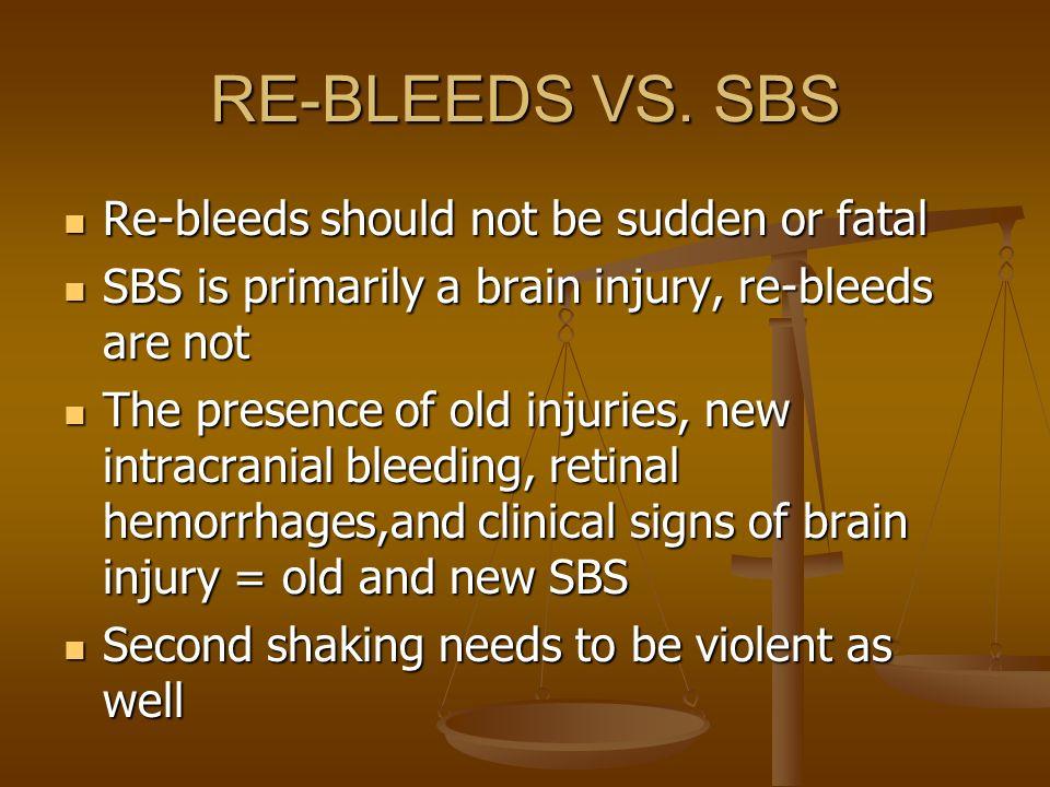 RE-BLEEDS VS. SBS Re-bleeds should not be sudden or fatal