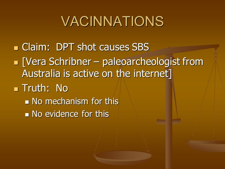 VACINNATIONS Claim: DPT shot causes SBS