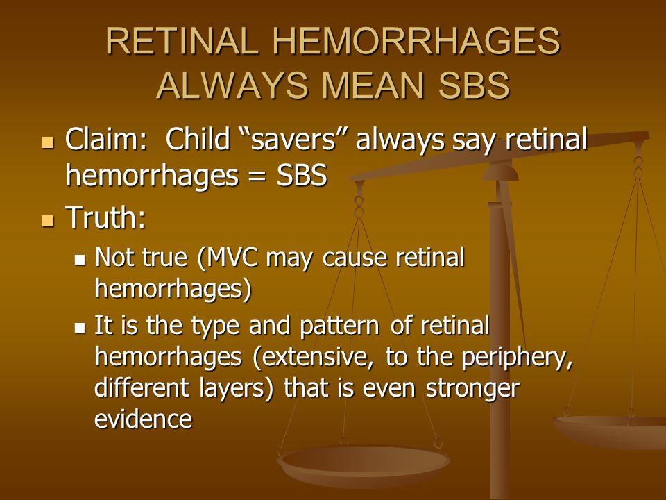 RETINAL HEMORRHAGES ALWAYS MEAN SBS