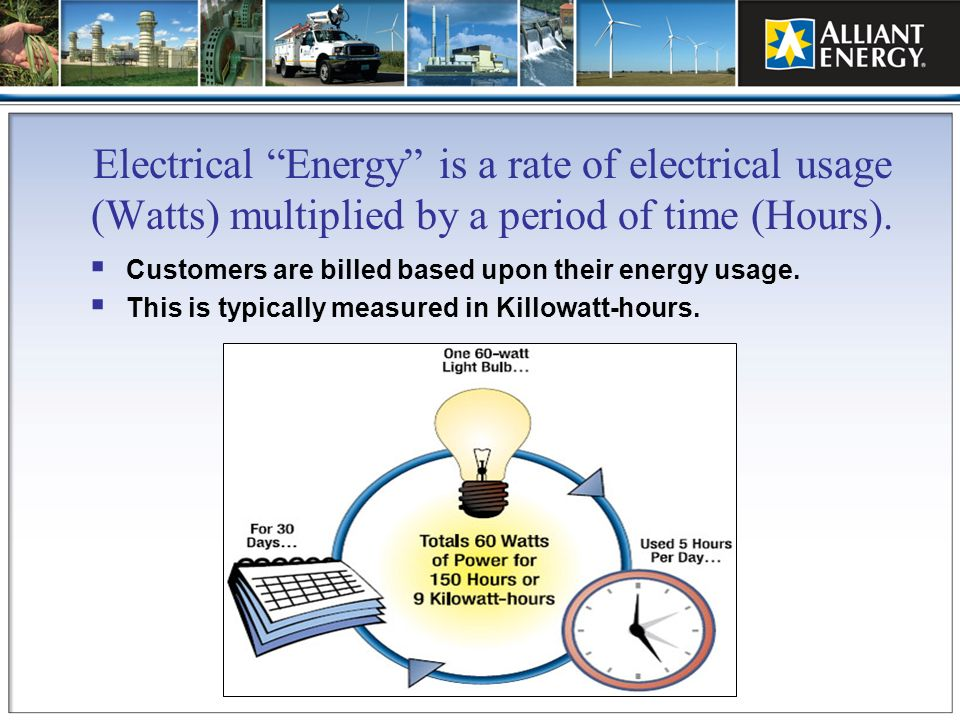 Electrical Energy is a rate of electrical usage (Watts) multiplied by a period of time (Hours).
