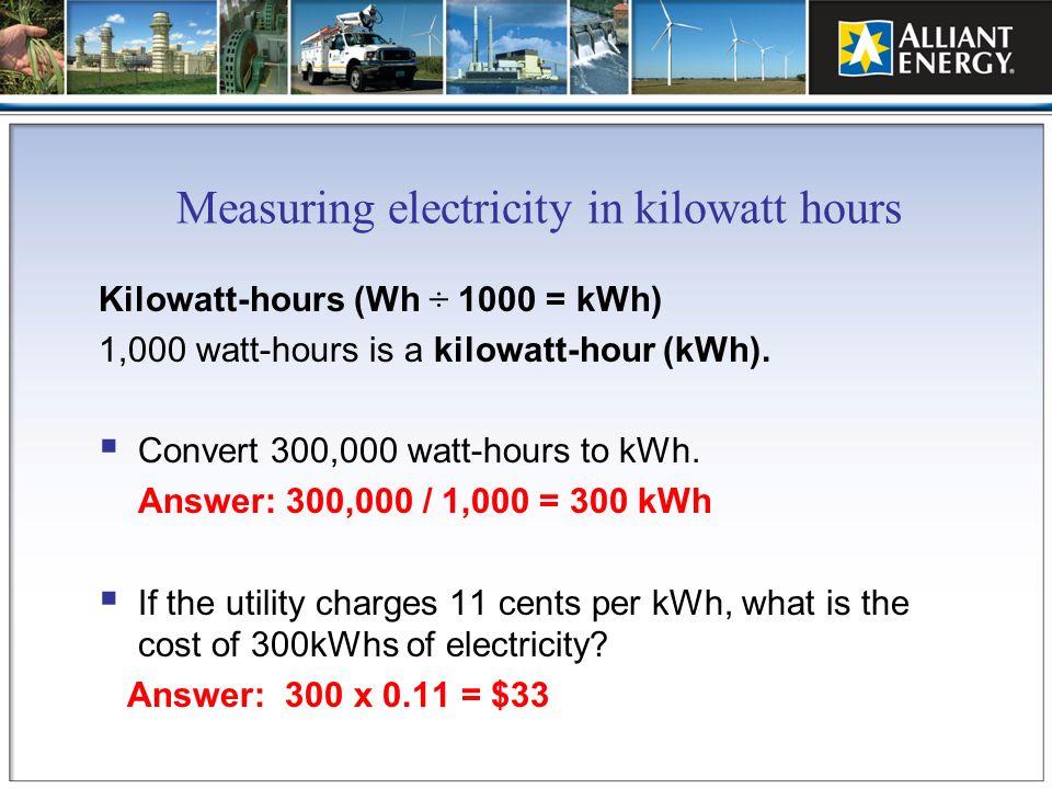 Measuring electricity in kilowatt hours