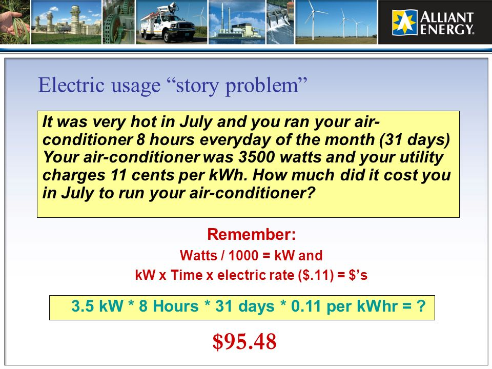 Electric usage story problem