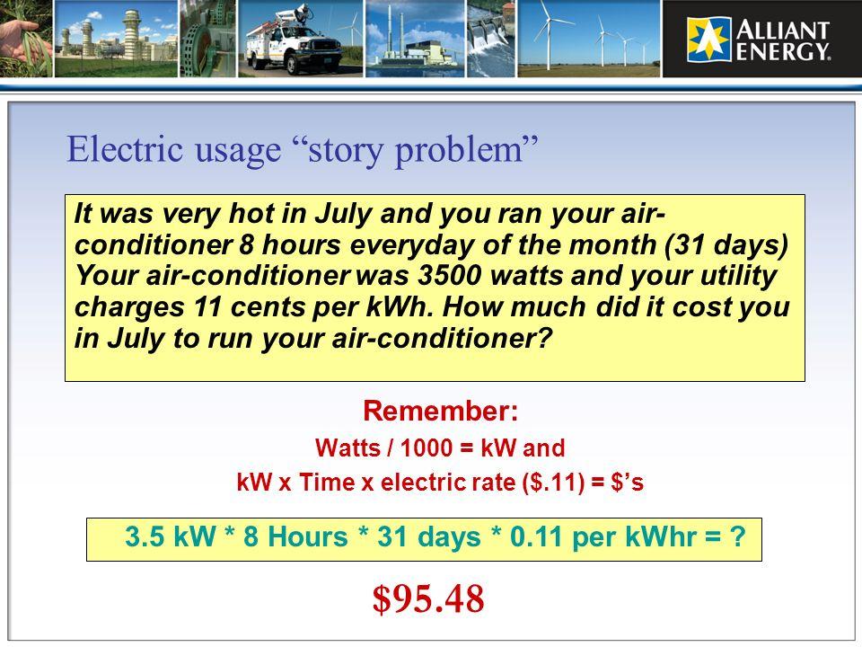 Electric usage story problem
