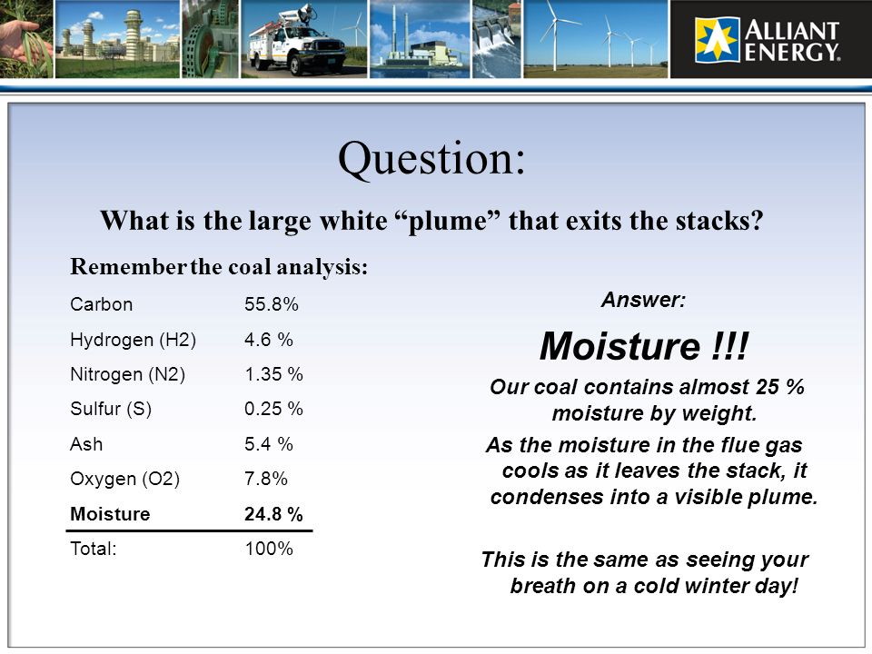 Question: What is the large white plume that exits the stacks Remember the coal analysis: Carbon 55.8%