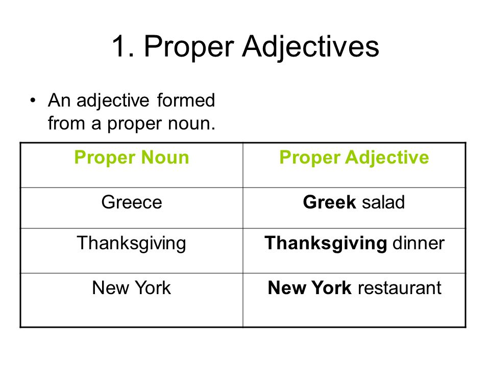 1. Proper Adjectives An adjective formed from a proper noun.