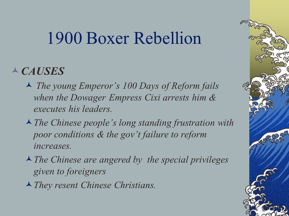 the causes and impact of the chinese boxer rebellion in the 1900s The boxer rebellion (1898-1901) in response to the national humiliation of losing wars to japan and the european imperial powers, another uprising occurred that aimed to purify china of foreign cultural, economic, and political influence.