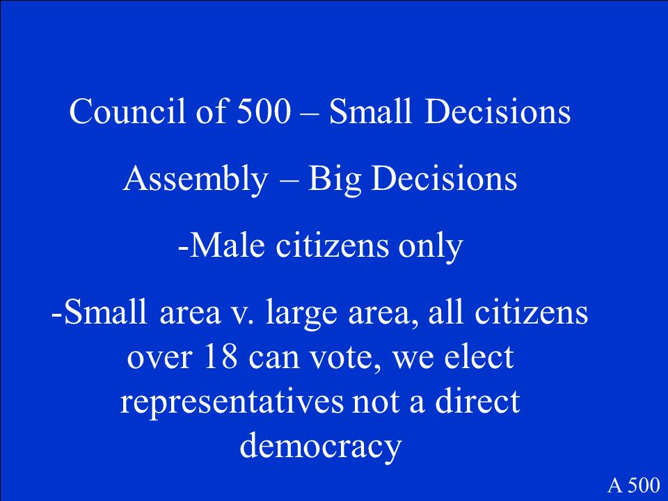 Council of 500 – Small Decisions Assembly – Big Decisions