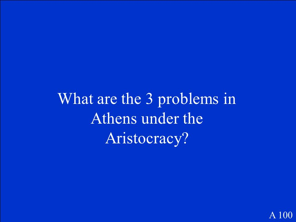 What are the 3 problems in Athens under the Aristocracy