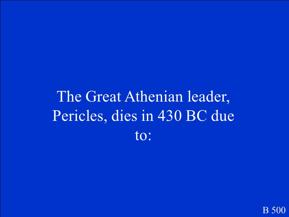 The Great Athenian leader, Pericles, dies in 430 BC due to: