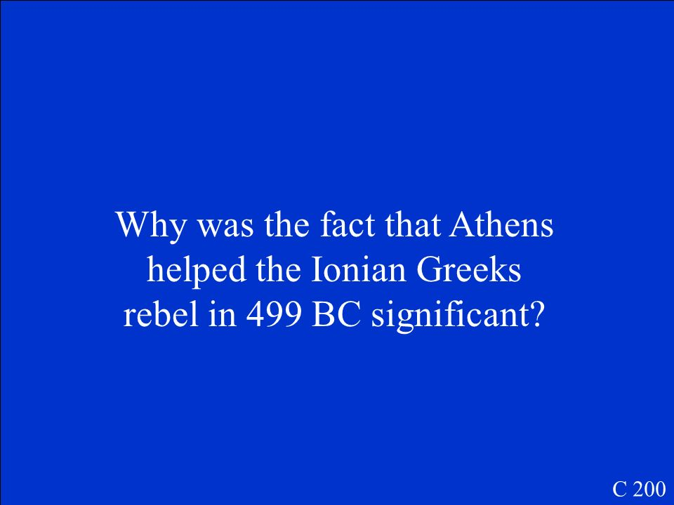 Why was the fact that Athens helped the Ionian Greeks rebel in 499 BC significant