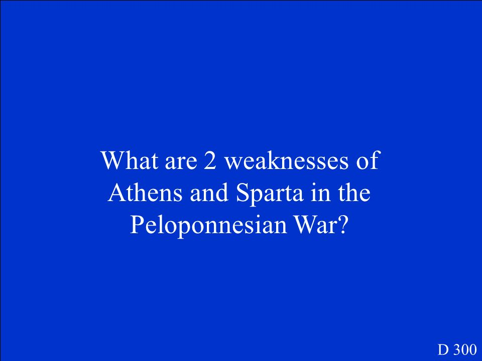 What are 2 weaknesses of Athens and Sparta in the Peloponnesian War