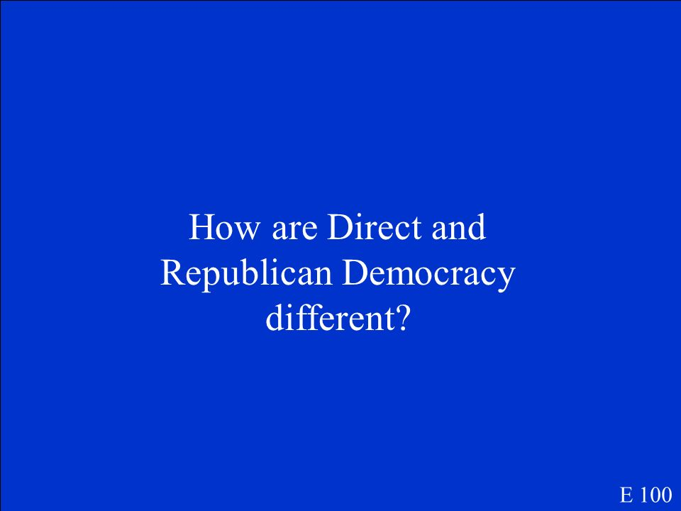 How are Direct and Republican Democracy different