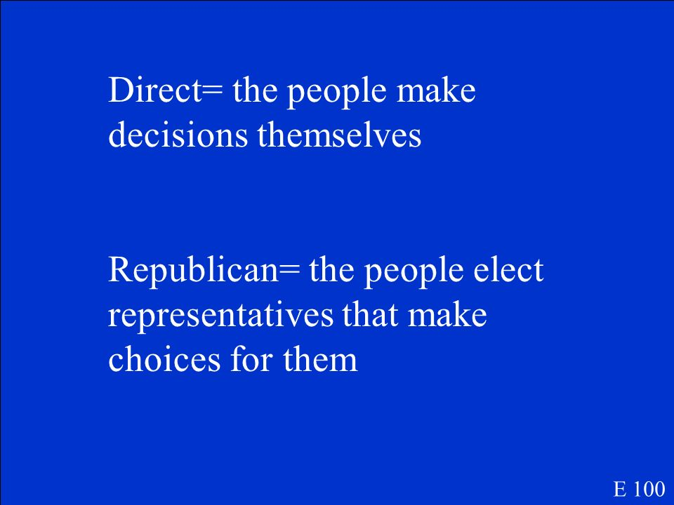 Direct= the people make decisions themselves