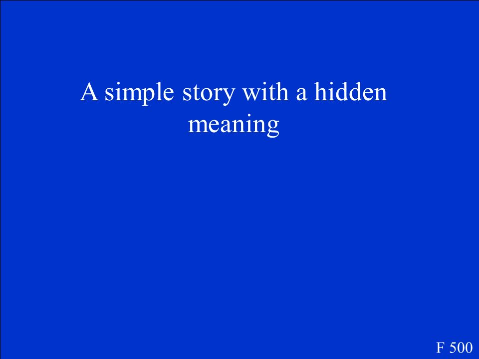 A simple story with a hidden meaning