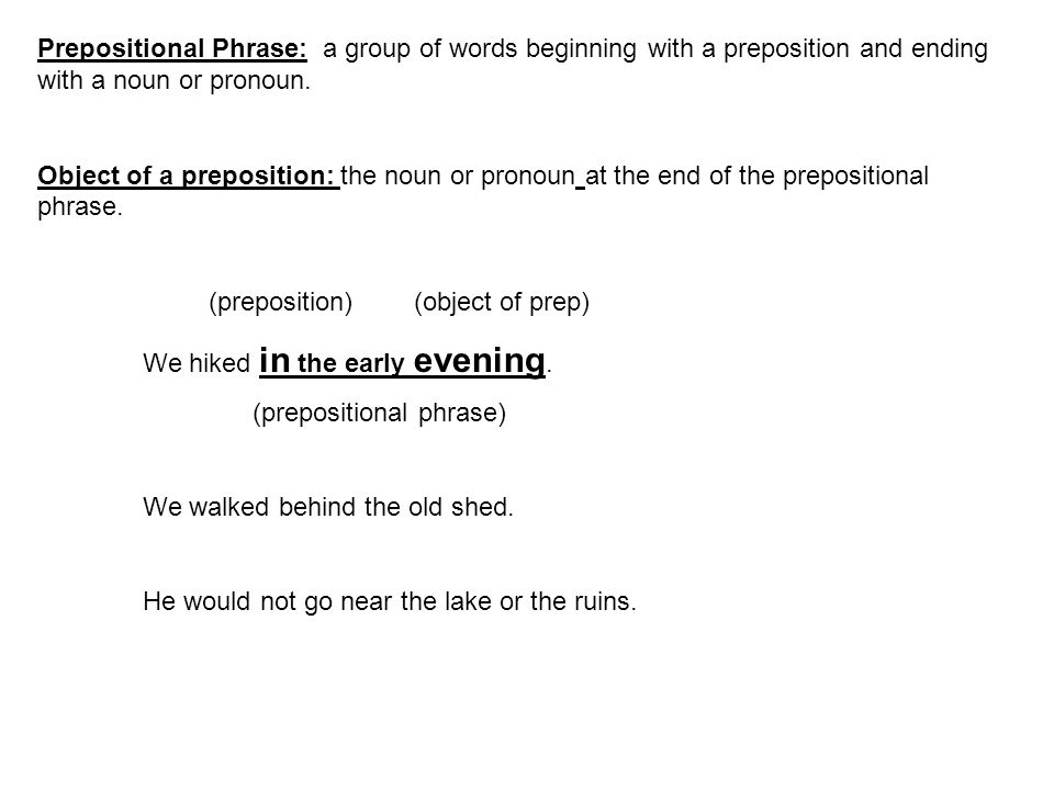 Prepositional Phrase: a group of words beginning with a preposition and ending with a noun or pronoun.