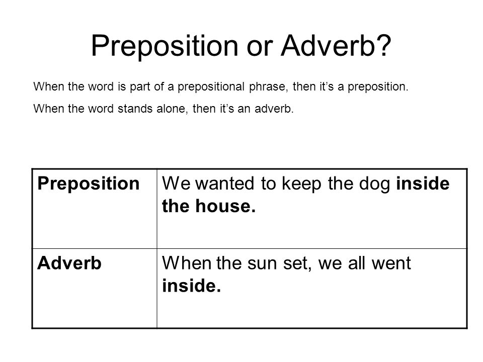 Preposition or Adverb Preposition