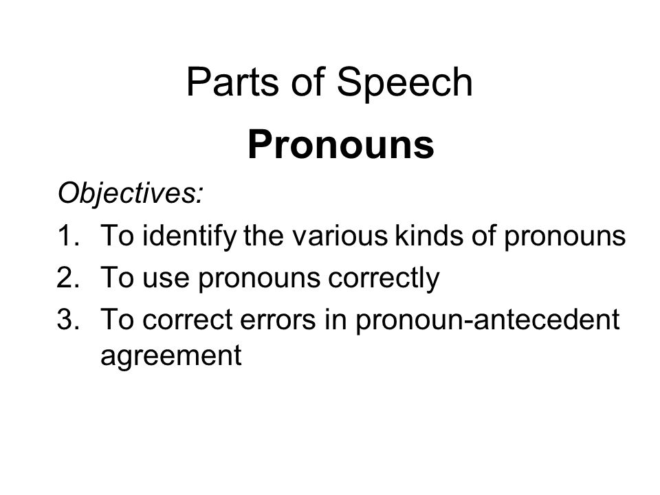 Parts of Speech Pronouns Objectives: