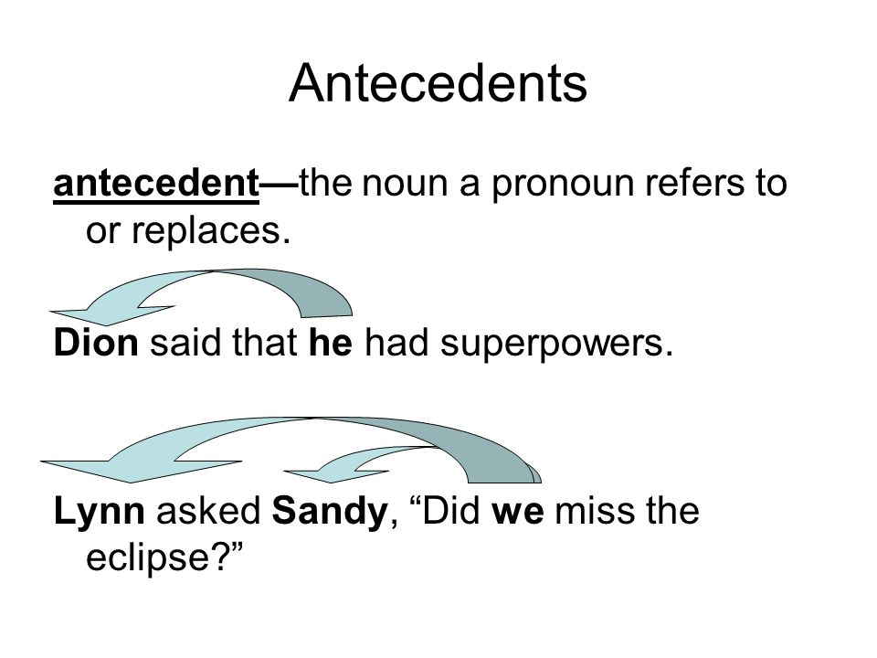 Antecedents antecedent—the noun a pronoun refers to or replaces.