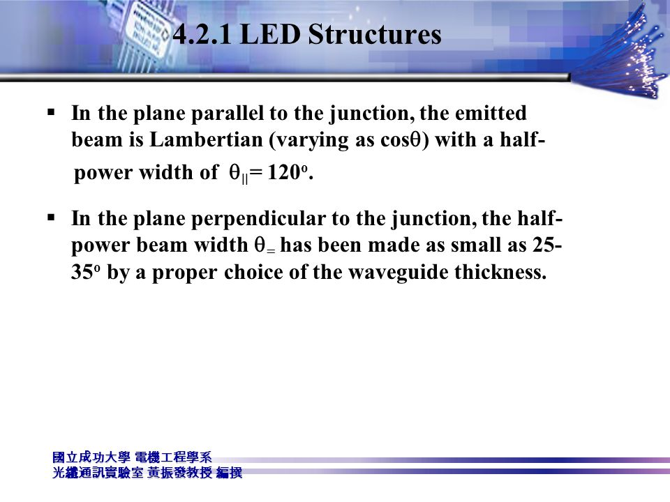 4.2.1 LED Structures In the plane parallel to the junction, the emitted beam is Lambertian (varying as cosq) with a half-