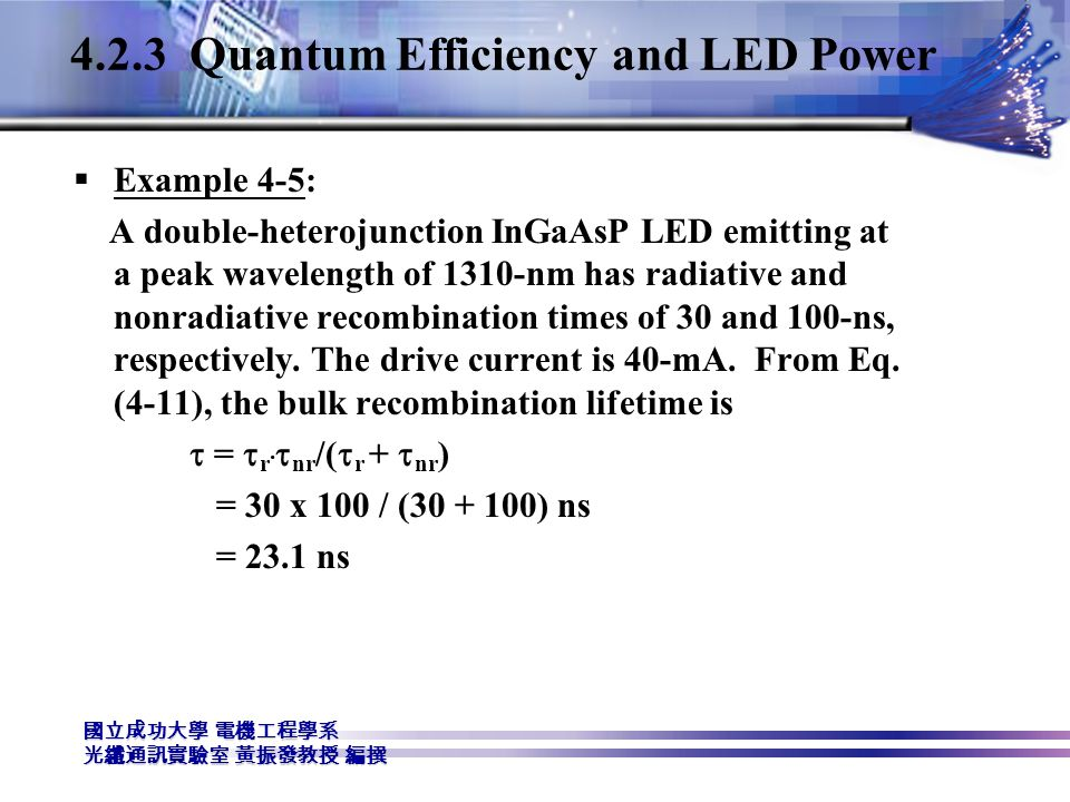 4.2.3 Quantum Efficiency and LED Power
