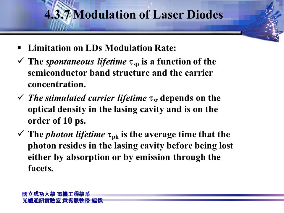 4.3.7 Modulation of Laser Diodes